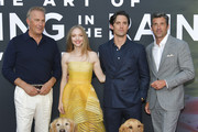 """(L-R) Kevin Costner, Amanda Seyfried, Milo Ventimiglia, and Patrick Dempsey attend the premiere of 20th Century Fox's """"The Art of Racing in the Rain"""" at El Capitan Theatre on August 01, 2019 in Los Angeles, California."""