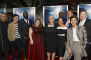 """(L-R) Devon Franklin, Topher Grace, Mike Colter, Chrissy Metz, Joyce Smith, Roxanne Dawson, Dennis Haysbert, Josh Lucas, Marcel Ruiz, and Paster Jason Noble attend the premiere of 20th Century Fox's """"Breakthrough"""" at Westwood Regency Theater on April 11, 2019 in Los Angeles, California."""