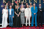 "(Back L-R) Tye Sheridan, Alexandra Shipp, Kodi-Smit McPhee, Andrew Stehlin, Kota Eberhardt (Front L-R) Jessica Chastain, James McAvoy, Jennifer Lawrence, Sophie Turner, Michael Fassbender, Nicholas Hoult and Simon Kinberg attend the premiere of 20th Century Fox's ""Dark Phoenix"" at TCL Chinese Theatre on June 04, 2019 in Hollywood, California."