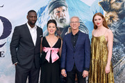"""(L-R) Omar Sy, Cara Gee, Karen Gillan, and Chris Sanders attend the Premiere of 20th Century Studios' """"The Call of the Wild"""" at El Capitan Theatre on February 13, 2020 in Los Angeles, California."""