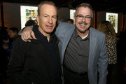 "Bob Odenkirk (L) and Vince Gilligan pose at the after party for the premiere of AMC's ""Better Call Saul"" Season 5 on February 05, 2020 in Hollywood, California."