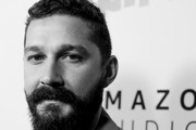 "Image has been converted to black and white.) Shia LaBeouf attends the premiere of Amazon Studios ""Honey Boy"" at The Dome at Arclight Hollywood on November 05, 2019 in Hollywood, California."