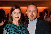 Lizzy Caplan and Aaron Paul attend the after party of Apple TV+'s 'Truth Be Told' on November 11, 2019 in Beverly Hills, California.