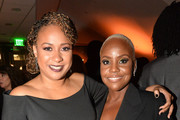 Tracie Thoms and Haneefah Wood attend the after party of Apple TV+'s 'Truth Be Told' on November 11, 2019 in Beverly Hills, California.