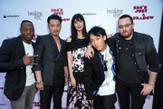 (L-R) Actors Marcus Johnson, Kentez Asaka, Tao Okamoto, Kihiro, and director Adam Sherman attend the premiere of Breaking Glass Pictures' 'She's Just A Shadow'  at ArcLight Hollywood on July 18, 2019 in Hollywood, California.