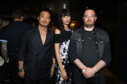 (L-R) Actors Kentez Asaka, Tao Okamoto and director/writer Adam Sherman attend the premiere of Breaking Glass Pictures' 'She's Just A Shadow' after party at The Spare Room on July 18, 2019 in Hollywood, California.