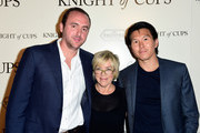 "(L-R) Producers Nicolas Gonda, Sarah Green, and Kenneth Kao attend the premiere of Broad Green Pictures' ""Knight Of Cups"" on March 1, 2016 in Los Angeles, California."