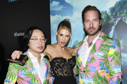 """(L-R) Actors Jimmy O. Yang, Charlotte McKinney, and Ryan Hansen attend the premiere of Columbia Pictures' """"Blumhouse's Fantasy Island"""" at AMC Century City 15 on February 11, 2020 in Century City, California."""