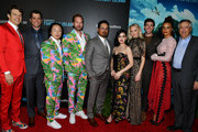"Jason Blum, Jeff Wadlow, Jimmy O. Yang, Ryan Hansen, Michael Peña,  Lucy Hale, Portia Doubleday, Austin Stowell and Parisa Fitz-Henley attend the premiere of Columbia Pictures'  ""Blumhouse's Fantasy Island"" at AMC Century City 15 on February 11, 2020 in Century City, California."