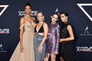 "(L-R) Ella Balinska, Elizabeth Banks, Kristen Stewart, and Naomi Scott attend the premiere of Columbia Pictures' ""Charlies Angels"" at Westwood Regency Theater on November 11, 2019 in Los Angeles, California."