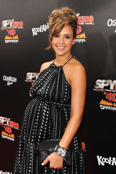 "Actress Jessica Alba arrives at ""Spy Kids: All The Time In The World 4D"" Los Angeles premiere at the Regal Cinemas L.A. Live on July 31, 2011 in Los Angeles, California."