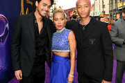 """(L-R) Trey Smith, Jada Pinkett Smith and Jaden Smith arrive at the premiere of Disney's """"Aladdin"""" at the El Capitan Theater on May 21, 2019 in Los Angeles, California."""