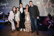 "Ilana Pena, Tess Romero, Charlie Bushnell, Selenis Leyva and Michael Weaver arrive at the Disney +'s ""Diary Of A Future President"" after party on January 14, 2020 in Hollywood, California."
