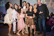 "(L-R) Jazzy Jade, Ilana Pena, Tess Romero, Charlie Bushnell, Selenis Leyva, Harmeet K. Pandey, Gina Rodriguez and Michael Weaver arrive at the Disney +'s ""Diary Of A Future President"" after party on January 14, 2020 in Hollywood, California."