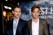 "Actor Eric Bana (L) and Chris Pine arrive at the premiere of Disney's ""The Finest Hours"" at the TCL Chinese Theatre on January 25, 2016 in Los Angeles, California."