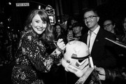 This image has been converted to black and white) Bryce Dallas Howard attends the premiere of Disney+'s 'The Mandalorian' at El Capitan Theatre on November 13, 2019 in Los Angeles, California.