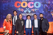"(L-R) Producer Darla K. Anderson, Actor Benjamin Bratt, Director Lee Unkrich, Actors Anthony Gonzalez and Gael Garcia Bernal, and Co-director/Screenwriter Adrian Molina at the U.S. Premiere of Disney-Pixar's ""Coco"" at the El Capitan Theatre on November 8, 2017, in Hollywood, California."