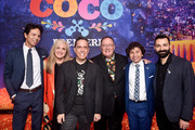 "(L-R) Actor Benjamin Bratt, Producer Darla K. Anderson, Director Lee Unkrich, Executive Producer John Lasseter, Actor Anthony Gonzalez, and Co-director/Screenwriter Adrian Molina at the U.S. Premiere of Disney-Pixar's ""Coco"" at the El Capitan Theatre on November 8, 2017, in Hollywood, California."