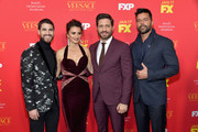 """(L-R) Actors Darren Criss, Penelope Cruz, Edgar Ramirez, and Ricky Martin attend the premiere of FX's """"The Assassination Of Gianni Versace: American Crime Story"""" at ArcLight Hollywood on January 8, 2018 in Hollywood, California."""