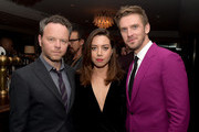 "(L-R) Creator/executive producer Noah Hawley, actress Aubrey Plaza and actor Dan Stevens pose at the after party for the season 2 premiere of FX's ""Legion"" at Soho House on April 2, 2018 in West Hollywood, California."