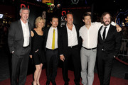 (L-R) Actors Steve Coulter, Lin Shaye, actor/Screenwriter Leigh Whannell, actor Patrick Wilson, producer Jason Blum and actor Angus Sampson arrive at the premiere of FilmDistrict's 'Insidious: Chapter 2' at CityWalk on September 10, 2013 in Universal City, California.