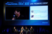 (L-R) Host Ryan Seacrest and singers/current American Idol judges Jennifer Lopez, Keith Urban and Harry Connick Jr. appear onstage at the premiere of Fox's 'American Idol Xlll' at UCLA's Royce Hall on January 14, 2014 in Los Angeles, California.