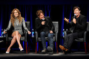 (L-R) Singers and current American Idol judges Jennifer Lopez, Keith Urban and Harry Connick Jr. appear onstage at the premiere of Fox's 'American Idol Xlll' at UCLA's Royce Hall on January 14, 2014 in Los Angeles, California.