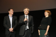 Producer David Ellison, director Ang Lee and Linda Emond speak onstage during the Premiere of Gemini Man at the TCL Chinese Theater in Hollywood, CA on October 6, 2019.