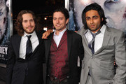 """Producer Spencer Silna, actor Jackson Rathbone and producer Adi Shankar arrive to the premiere of  Open Road Films' """"The Grey"""" on January 11, 2012 in Los Angeles, California."""