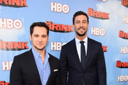 """Actos Matt McGorry, Pablo Schreiber arrive at the Premiere Of HBO's """"The Brink""""  at Paramount Studios on June 8, 2015 in Hollywood, California."""