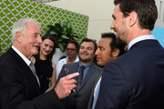 """(L-R) Executive producer Jerry Weintraub with actors Maribeth Monroe, Jack Black, Iqbal Theba, Pablo Schreiber arrive at the Premiere Of HBO's """"The Brink""""  at Paramount Studios on June 8, 2015 in Hollywood, California."""