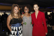 (L-R) Tracie Thoms, LisaGay Hamilton and Hannah Ware attend the premiere of Hulu's 'The First' after party at California Science Center on September 12, 2018 in Los Angeles, California.