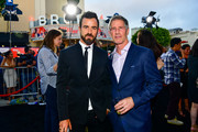 """Justin Theroux (L) and CEO of Lionsgate Jon Feltheimer attend the premiere of Lionsgate's """"The Spy Who Dumped Me"""" on July 25, 2018 in Los Angeles, California."""