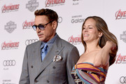 """Actor Robert Downey Jr. (L) and Producer Susan Downey attend the premiere of Marvel's """"Avengers: Age Of Ultron"""" at Dolby Theatre on April 13, 2015 in Hollywood, California."""