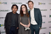 "Actors Kunal Nayyar, Zoe Lister -Jones and director Daryl Wein attend the Los Angeles premiere of Mister Lister Films' ""Consumed""  at Laemmle Music Hall on November 11, 2015 in Beverly Hills, California."