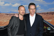"""Aaron Paul and Bryan Cranston attend the premiere of Netflix's """"El Camino: A Breaking Bad Movie"""" at Regency Village Theatre on October 07, 2019 in Westwood, California."""