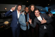"""Anders Holm (L) Blake Anderson (2nd from R), Adam DeVine (R), and guest attend the premiere of the Netflix film """"Game Over, Man!"""" at the Regency Village Westwood in Los Angeles at Regency Village Theatre on March 21, 2018 in Westwood, California."""