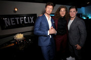 """(L-R) Anders Holm, Blake Anderson and Adam DeVine attend the premiere of the Netflix film """"Game Over, Man!"""" at the Regency Village Westwood in Los Angeles at Regency Village Theatre on March 21, 2018 in Westwood, California."""