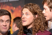 """(L - R) Adam Devine, Blake Anderson and Anders Holm attend the premiere of Netflix's """"Game Over, Man!"""" at Regency Village Theatre on March 21, 2018 in Westwood, California."""