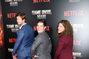 """(L - R) Anders Holm, Adam Devine and Blake Anderson attend the premiere of Netflix's """"Game Over, Man!"""" at Regency Village Theatre on March 21, 2018 in Westwood, California."""