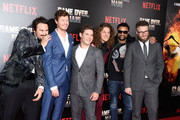 """(L - R) Kyle Newacheck, Anders Holm, Adam Devine, Blake Anderson, Shaggy and Seth Rogen attend the premiere of Netflix's """"Game Over, Man!""""  at Regency Village Theatre on March 21, 2018 in Westwood, California."""