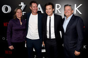 """(L-R) Cindy Holland, Chris Mundy, Jason Bateman and Ted Sarandos arrive at the premiere of Netflix's """"Ozark"""" Season 2 at the Arclight Theatre on August 23, 2018 in Los Angeles, California."""