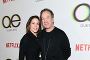 """Jane Hajduk (L) and Tim Allen attend the premiere of Netflix's """"Queer Eye"""" Season 1 at Pacific Design Center on February 7, 2018 in West Hollywood, California."""