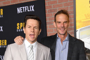 """(L-R) Mark Wahlberg and Peter Berg attend the Premiere of Netflix's """"Spenser Confidential"""" at Regency Village Theatre on February 27, 2020 in Westwood, California."""