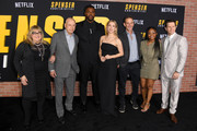"""(L-R) Colleen Camp, Alan Arkin, Winston Duke, Iliza Shlesinger, Peter Berg, Hope Olaide Wilson, and Mark Wahlberg attend the Premiere of Netflix's """"Spenser Confidential"""" at Regency Village Theatre on February 27, 2020 in Westwood, California."""
