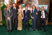 """(L-R) Actors Stanley Tucci, Nicholas Hoult,  Eleanor Tomlinson, director Bryan Singer, actors Bill Nighy, John Kassir, and  Ewen Bremner attend the premiere of New Line Cinema's """"Jack The Giant Slayer"""" at TCL Chinese Theatre on February 26, 2013 in Hollywood, California."""