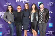 """(L-R) Ali Hewson, musician Bono, model Christy Turlington Burns, Morleigh Steinberg and musician The Edge attend the premiere of """"No Woman No Cry"""" during the 2010 Tribeca Film Festival  at Village East Cinema on April 24, 2010 in New York City."""