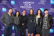 """(L-R) Actor Edward Burns, Ali Hewson, musician Bono, model Christy Turlington Burns, Morleigh Steinberg and musician The Edge attend the premiere of """"No Woman No Cry"""" during the 2010 Tribeca Film Festival  at Village East Cinema on April 24, 2010 in New York City."""