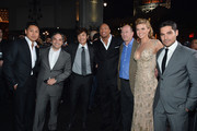 """(L-R) Director Jon M. Chu, Adam Goodman, President of Paramount Film Group, actor Byung-Hun Lee, Dwayne """"The Rock"""" Johnson, Rob Moore, Vice Chairman of Paramount Pictures, actress Adrianne Palicki and actor D.J. Cotrona attend the premiere of Paramount Pictures' """"G.I. Joe: Retaliation"""" at TCL Chinese Theatre on March 28, 2013 in Hollywood, California."""