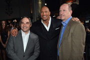 """(L-R) Adam Goodman, President of Paramount Film Group, actor Dwayne """"The Rock"""" Johnson and Rob Moore, Vice Chairman of Paramount Pictures attend the premiere of Paramount Pictures' """"G.I. Joe: Retaliation"""" at TCL Chinese Theatre on March 28, 2013 in Hollywood, California."""
